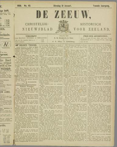 De Zeeuw. Christelijk-historisch nieuwsblad voor Zeeland 1888-01-10