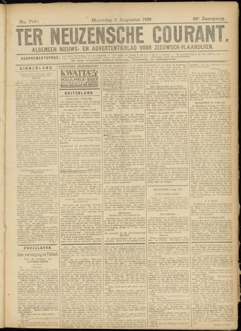 Ter Neuzensche Courant. Algemeen Nieuws- en Advertentieblad voor Zeeuwsch-Vlaanderen / Neuzensche Courant ... (idem) / (Algemeen) nieuws en advertentieblad voor Zeeuwsch-Vlaanderen 1926-08-02