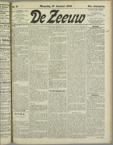 De Zeeuw. Christelijk-historisch nieuwsblad voor Zeeland 1921-01-17