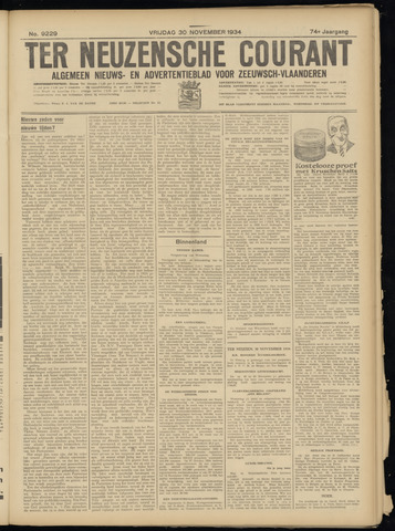 Ter Neuzensche Courant. Algemeen Nieuws- en Advertentieblad voor Zeeuwsch-Vlaanderen / Neuzensche Courant ... (idem) / (Algemeen) nieuws en advertentieblad voor Zeeuwsch-Vlaanderen 1934-11-30