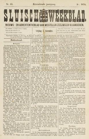 Sluisch Weekblad. Nieuws- en advertentieblad voor Westelijk Zeeuwsch-Vlaanderen 1876-11-03