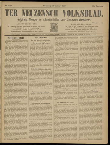 Ter Neuzensch Volksblad. Vrijzinnig nieuws- en advertentieblad voor Zeeuwsch- Vlaanderen / Zeeuwsch Nieuwsblad. Nieuws- en advertentieblad voor Zeeland 1915-01-20