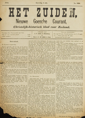 Het Zuiden, Christelijk-historisch blad 1885-07-04