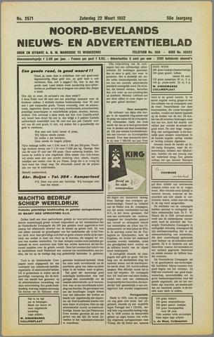 Noord-Bevelands Nieuws- en advertentieblad 1952-03-22