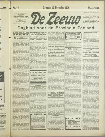 De Zeeuw. Christelijk-historisch nieuwsblad voor Zeeland 1930-11-15