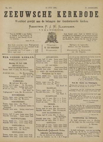 Zeeuwsche kerkbode, weekblad gewijd aan de belangen der gereformeerde kerken/ Zeeuwsch kerkblad 1891-07-11