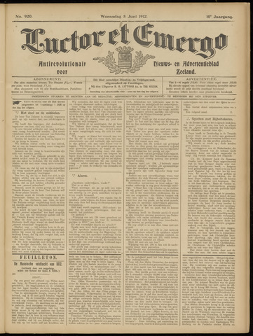 Luctor et Emergo. Antirevolutionair nieuws- en advertentieblad voor Zeeland / Zeeuwsch-Vlaanderen. Orgaan ter verspreiding van de christelijke beginselen in Zeeuwsch-Vlaanderen 1912-06-05