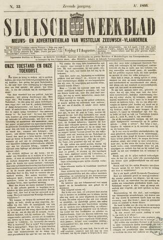 Sluisch Weekblad. Nieuws- en advertentieblad voor Westelijk Zeeuwsch-Vlaanderen 1866-08-17
