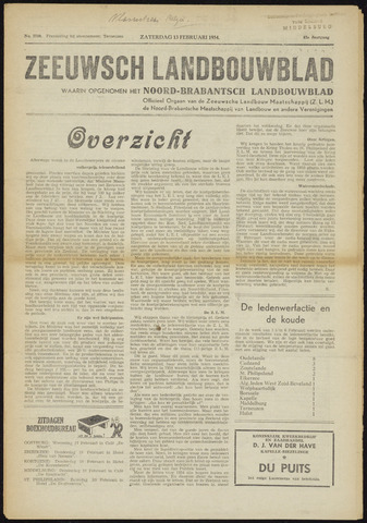 Zeeuwsch landbouwblad ... ZLM land- en tuinbouwblad 1954-02-13