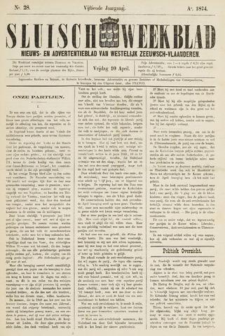 Sluisch Weekblad. Nieuws- en advertentieblad voor Westelijk Zeeuwsch-Vlaanderen 1874-04-10