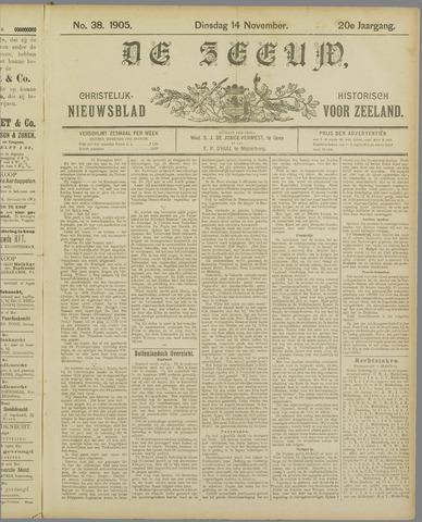 De Zeeuw. Christelijk-historisch nieuwsblad voor Zeeland 1905-11-14