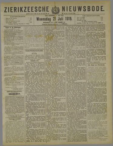 Zierikzeesche Nieuwsbode 1915-07-21