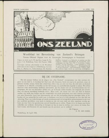 Ons Zeeland / Zeeuwsche editie 1926-04-24
