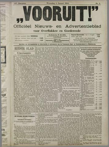 """""""Vooruit!""""Officieel Nieuws- en Advertentieblad voor Overflakkee en Goedereede 1916-01-05"""