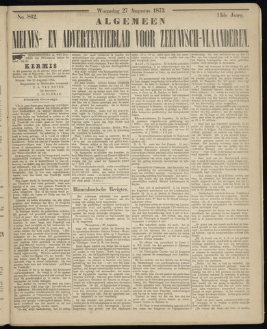 Ter Neuzensche Courant. Algemeen Nieuws- en Advertentieblad voor Zeeuwsch-Vlaanderen / Neuzensche Courant ... (idem) / (Algemeen) nieuws en advertentieblad voor Zeeuwsch-Vlaanderen 1873-08-27