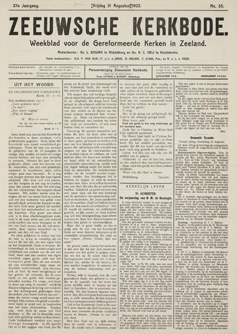 Zeeuwsche kerkbode, weekblad gewijd aan de belangen der gereformeerde kerken/ Zeeuwsch kerkblad 1923-08-31