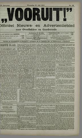 """""""Vooruit!""""Officieel Nieuws- en Advertentieblad voor Overflakkee en Goedereede 1915-07-21"""