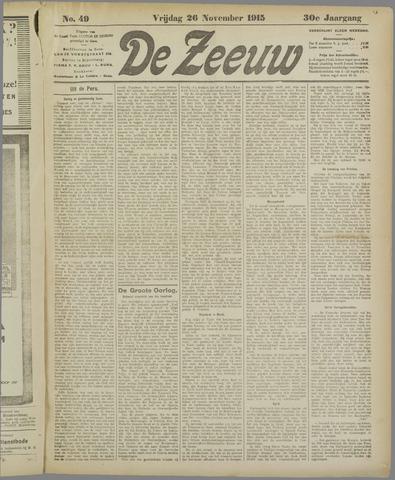 De Zeeuw. Christelijk-historisch nieuwsblad voor Zeeland 1915-11-26