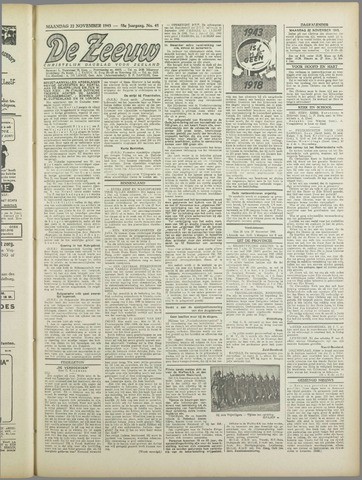 De Zeeuw. Christelijk-historisch nieuwsblad voor Zeeland 1943-11-22