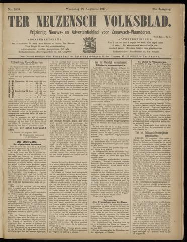Ter Neuzensch Volksblad. Vrijzinnig nieuws- en advertentieblad voor Zeeuwsch- Vlaanderen / Zeeuwsch Nieuwsblad. Nieuws- en advertentieblad voor Zeeland 1917-08-22