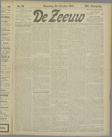De Zeeuw. Christelijk-historisch nieuwsblad voor Zeeland 1915-10-25