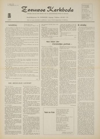 Zeeuwsche kerkbode, weekblad gewijd aan de belangen der gereformeerde kerken/ Zeeuwsch kerkblad 1970-04-23