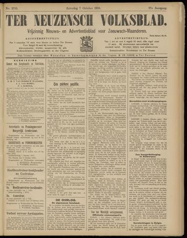 Ter Neuzensch Volksblad. Vrijzinnig nieuws- en advertentieblad voor Zeeuwsch- Vlaanderen / Zeeuwsch Nieuwsblad. Nieuws- en advertentieblad voor Zeeland 1916-10-07