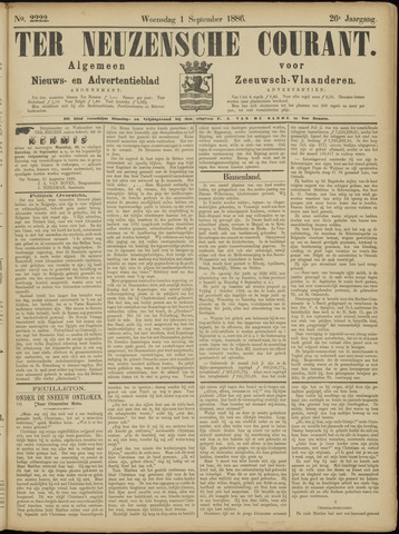 Ter Neuzensche Courant. Algemeen Nieuws- en Advertentieblad voor Zeeuwsch-Vlaanderen / Neuzensche Courant ... (idem) / (Algemeen) nieuws en advertentieblad voor Zeeuwsch-Vlaanderen 1886-09-01