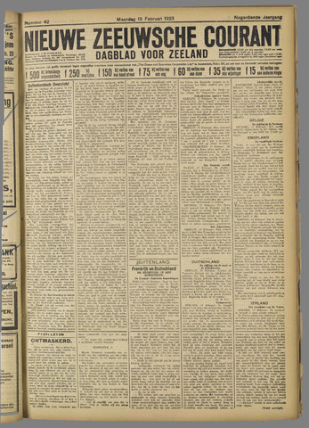 Nieuwe Zeeuwsche Courant 1923-02-19