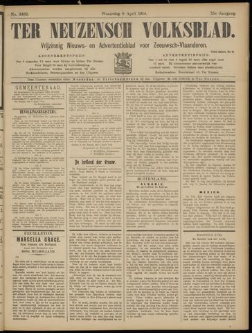 Ter Neuzensch Volksblad. Vrijzinnig nieuws- en advertentieblad voor Zeeuwsch- Vlaanderen / Zeeuwsch Nieuwsblad. Nieuws- en advertentieblad voor Zeeland 1914-04-08