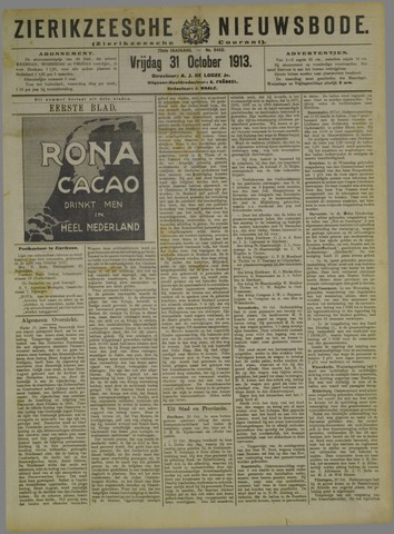 Zierikzeesche Nieuwsbode 1913-10-31