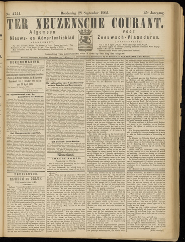 Ter Neuzensche Courant. Algemeen Nieuws- en Advertentieblad voor Zeeuwsch-Vlaanderen / Neuzensche Courant ... (idem) / (Algemeen) nieuws en advertentieblad voor Zeeuwsch-Vlaanderen 1905-09-28