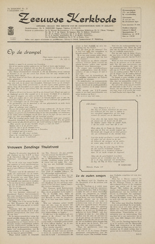 Zeeuwsche kerkbode, weekblad gewijd aan de belangen der gereformeerde kerken/ Zeeuwsch kerkblad 1968-12-05