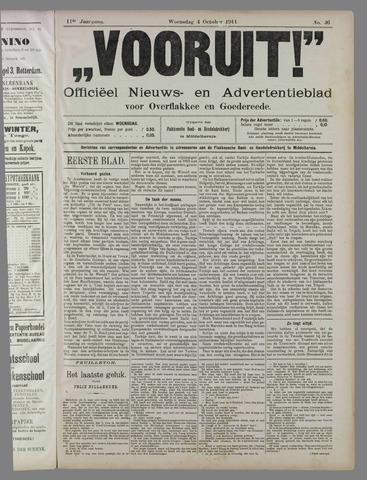 """""""Vooruit!""""Officieel Nieuws- en Advertentieblad voor Overflakkee en Goedereede 1911-10-04"""