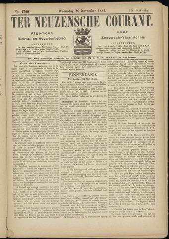 Ter Neuzensche Courant. Algemeen Nieuws- en Advertentieblad voor Zeeuwsch-Vlaanderen / Neuzensche Courant ... (idem) / (Algemeen) nieuws en advertentieblad voor Zeeuwsch-Vlaanderen 1881-11-30