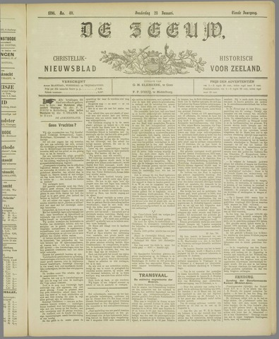 De Zeeuw. Christelijk-historisch nieuwsblad voor Zeeland 1896-01-23