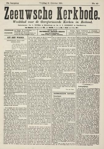 Zeeuwsche kerkbode, weekblad gewijd aan de belangen der gereformeerde kerken/ Zeeuwsch kerkblad 1921-10-21