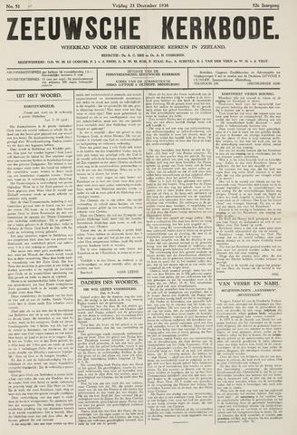 Zeeuwsche kerkbode, weekblad gewijd aan de belangen der gereformeerde kerken/ Zeeuwsch kerkblad 1938-12-23