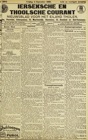 Ierseksche en Thoolsche Courant 1930-09-05