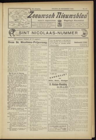Zeeuwsch Nieuwsblad/Wegeling's Nieuwsblad 1935-11-29