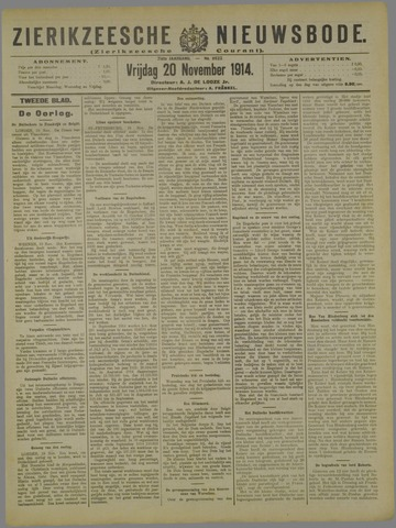Zierikzeesche Nieuwsbode 1914-11-20