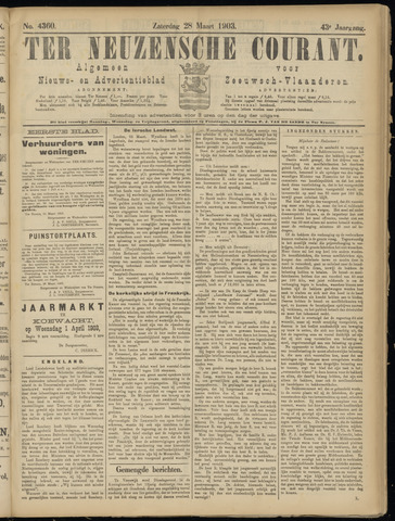 Ter Neuzensche Courant. Algemeen Nieuws- en Advertentieblad voor Zeeuwsch-Vlaanderen / Neuzensche Courant ... (idem) / (Algemeen) nieuws en advertentieblad voor Zeeuwsch-Vlaanderen 1903-03-28