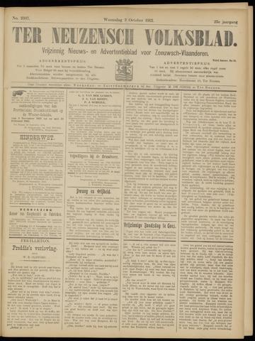 Ter Neuzensch Volksblad. Vrijzinnig nieuws- en advertentieblad voor Zeeuwsch- Vlaanderen / Zeeuwsch Nieuwsblad. Nieuws- en advertentieblad voor Zeeland 1912-10-02