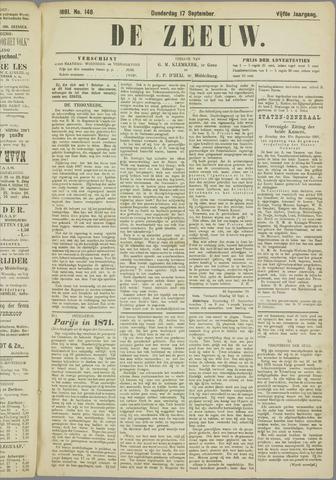 De Zeeuw. Christelijk-historisch nieuwsblad voor Zeeland 1891-09-17