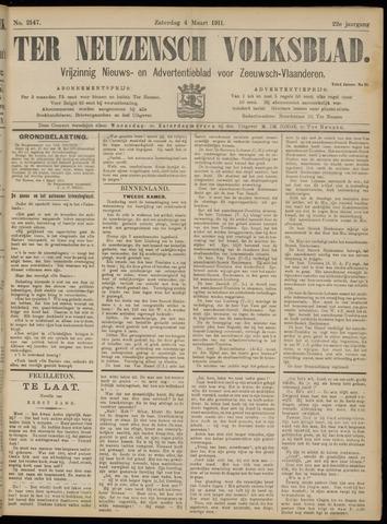 Ter Neuzensch Volksblad. Vrijzinnig nieuws- en advertentieblad voor Zeeuwsch- Vlaanderen / Zeeuwsch Nieuwsblad. Nieuws- en advertentieblad voor Zeeland 1911-03-04