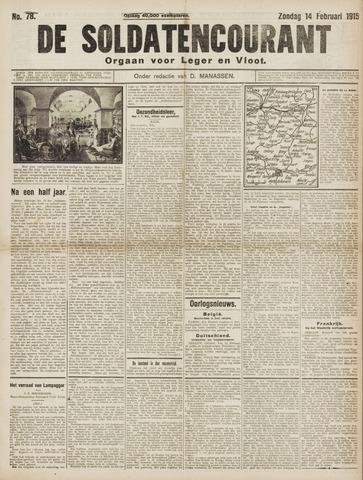 De Soldatencourant. Orgaan voor Leger en Vloot 1915-02-14