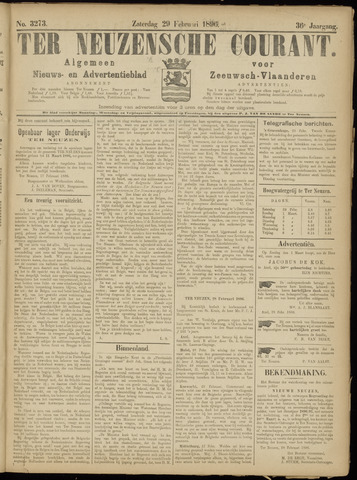 Ter Neuzensche Courant. Algemeen Nieuws- en Advertentieblad voor Zeeuwsch-Vlaanderen / Neuzensche Courant ... (idem) / (Algemeen) nieuws en advertentieblad voor Zeeuwsch-Vlaanderen 1896-02-29