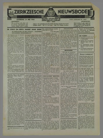 Zierikzeesche Nieuwsbode 1941-05-31