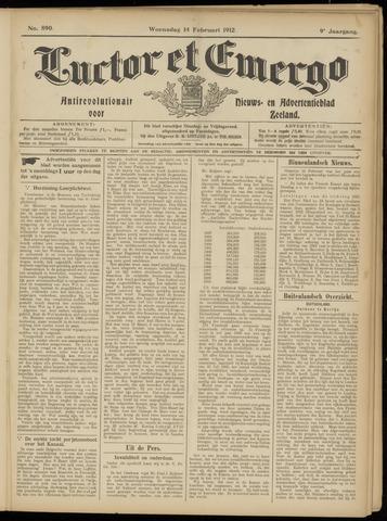 Luctor et Emergo. Antirevolutionair nieuws- en advertentieblad voor Zeeland / Zeeuwsch-Vlaanderen. Orgaan ter verspreiding van de christelijke beginselen in Zeeuwsch-Vlaanderen 1912-02-14
