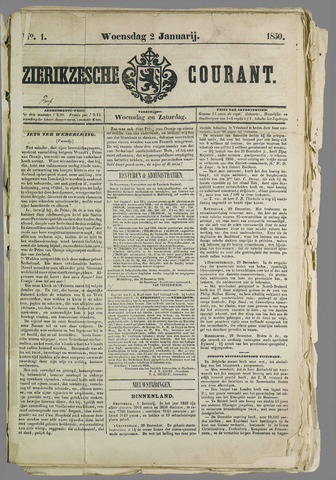Zierikzeesche Courant 1850